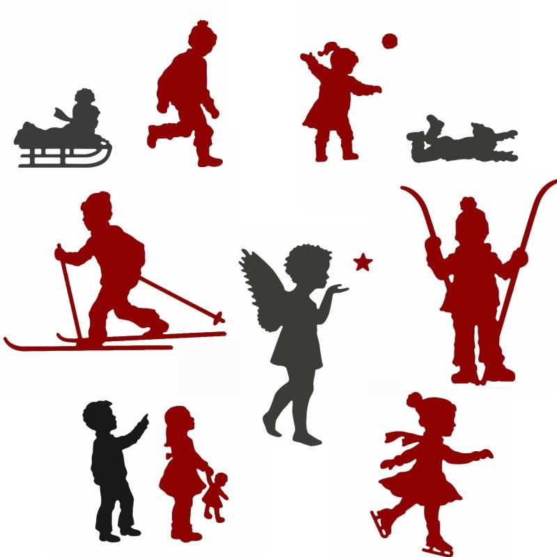 Niños alegres en invierno troqueles de corte de Metal plantillas adorables niños jugando en invierno troqueles para hacer tarjetas DIY nuevo 2020
