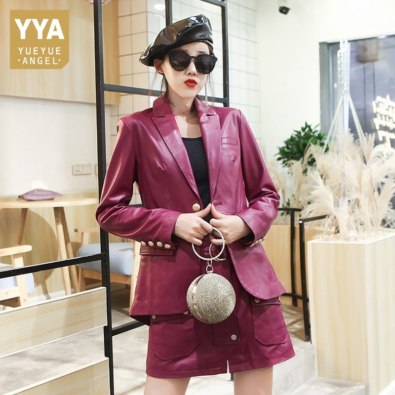 Genuine High Quality Leather Slim Turn-Down Collar Womens Natural Sheepskin Jackets Single Button Po