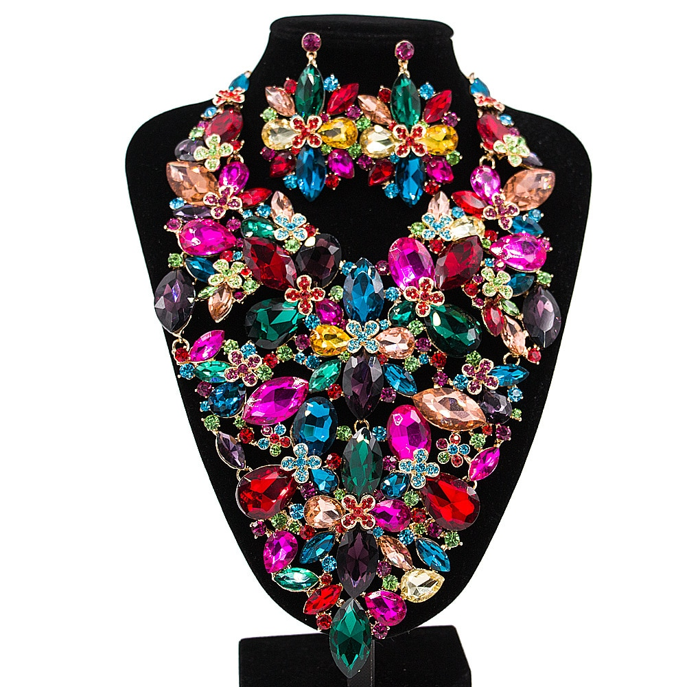 Promo Sakura Love Crystal Leaf Flower Necklace Earrings African Jewelry Set Glamour Bride Luxury Fashion Accessories Wedding Banquet