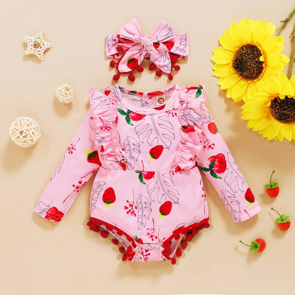 Free Shipping Clothes Baby Girl Winter Onesie Rompers Cartoon Floral Strawberry Leopard Baby Girls Long Sleeve Romper Outfits