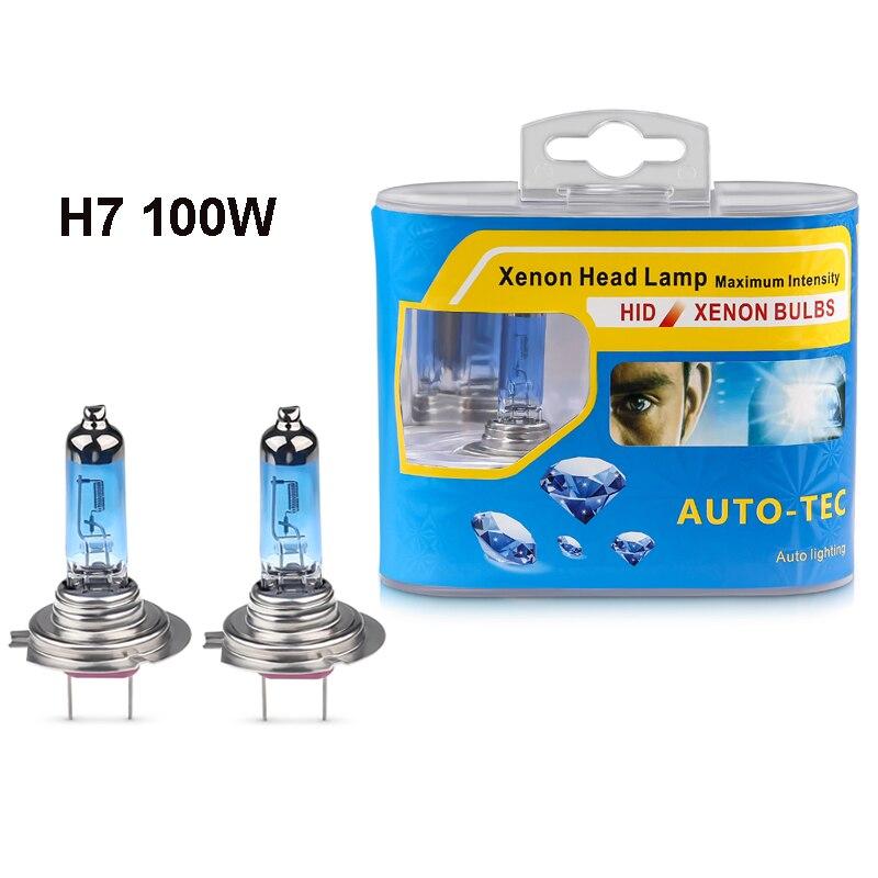 2 uds 12V H7 100W alta potencia 6000K Super brillante blanco halógeno bombilla para faro del coche h7 halógeno faro blanco fuente de luz del coche