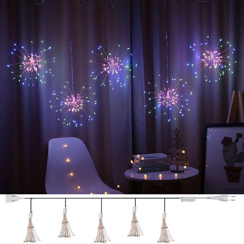 Christmas Garland Fireworks Fairy lights 3M 500LEDs Garland Curtain LED String Light For Xmas new year Bedroom Decor Lighting