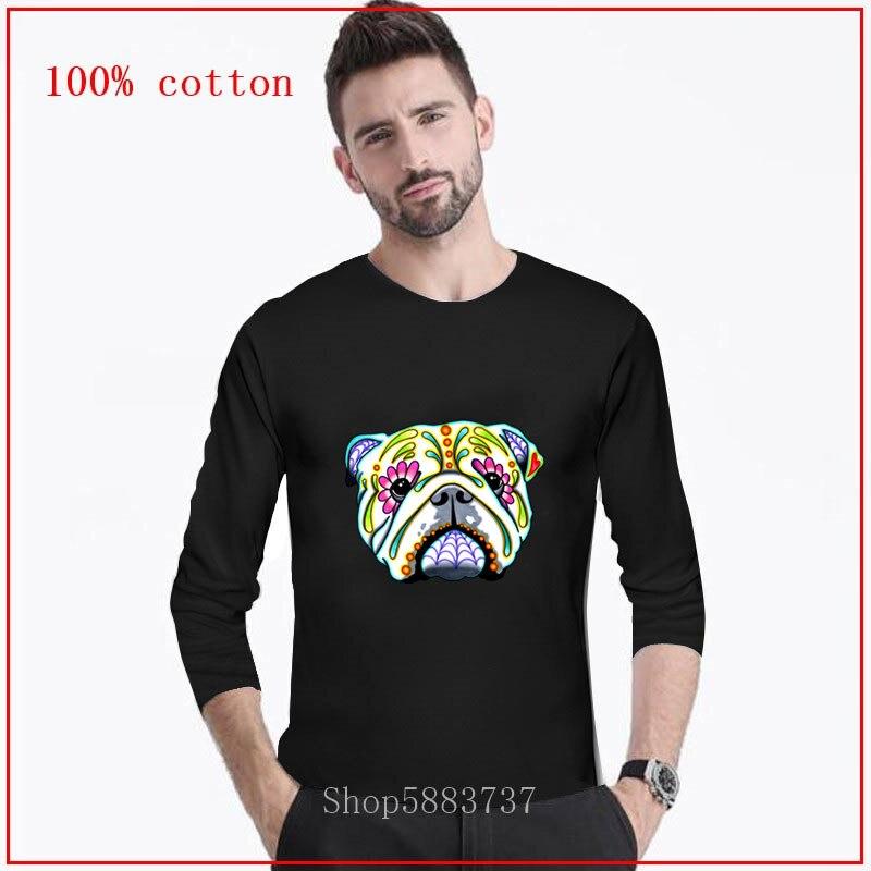 2020 Kawaii Pullover Día del Bulldog inglés de los muertos azúcar cráneo de perro hombres Camiseta de manga larga hombres Camisa femenina cottonTeeshirts