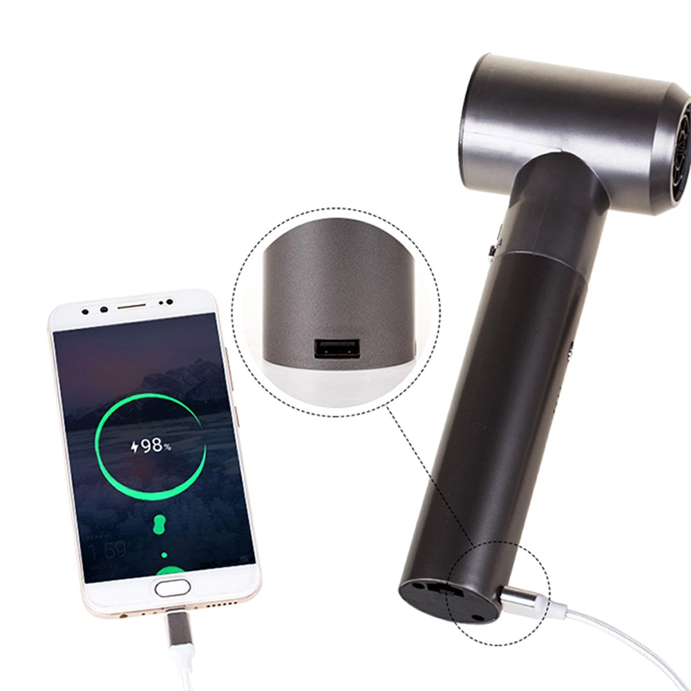 Rechargeable Wireless Hair Dryer with 2 Batteries Assembled and Lightweight USB Port As Portable Power Source Hot Wind Cold Wind enlarge