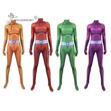 เด็กคอสเพลย์ Totally Spies อะนิเมะ Clover Sam Alex Bodysuit ชุดคอสเพลย์ Zentai Jumpsuits ฮาโลวีนผู้หญิงชุด