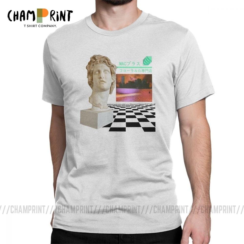 Vaporwave Aesthetic Men T Shirts Vapor Wave Floral Shoppe Macintosh Plus Fashion 100% Cotton Tees O Neck T-Shirt Gift Tops