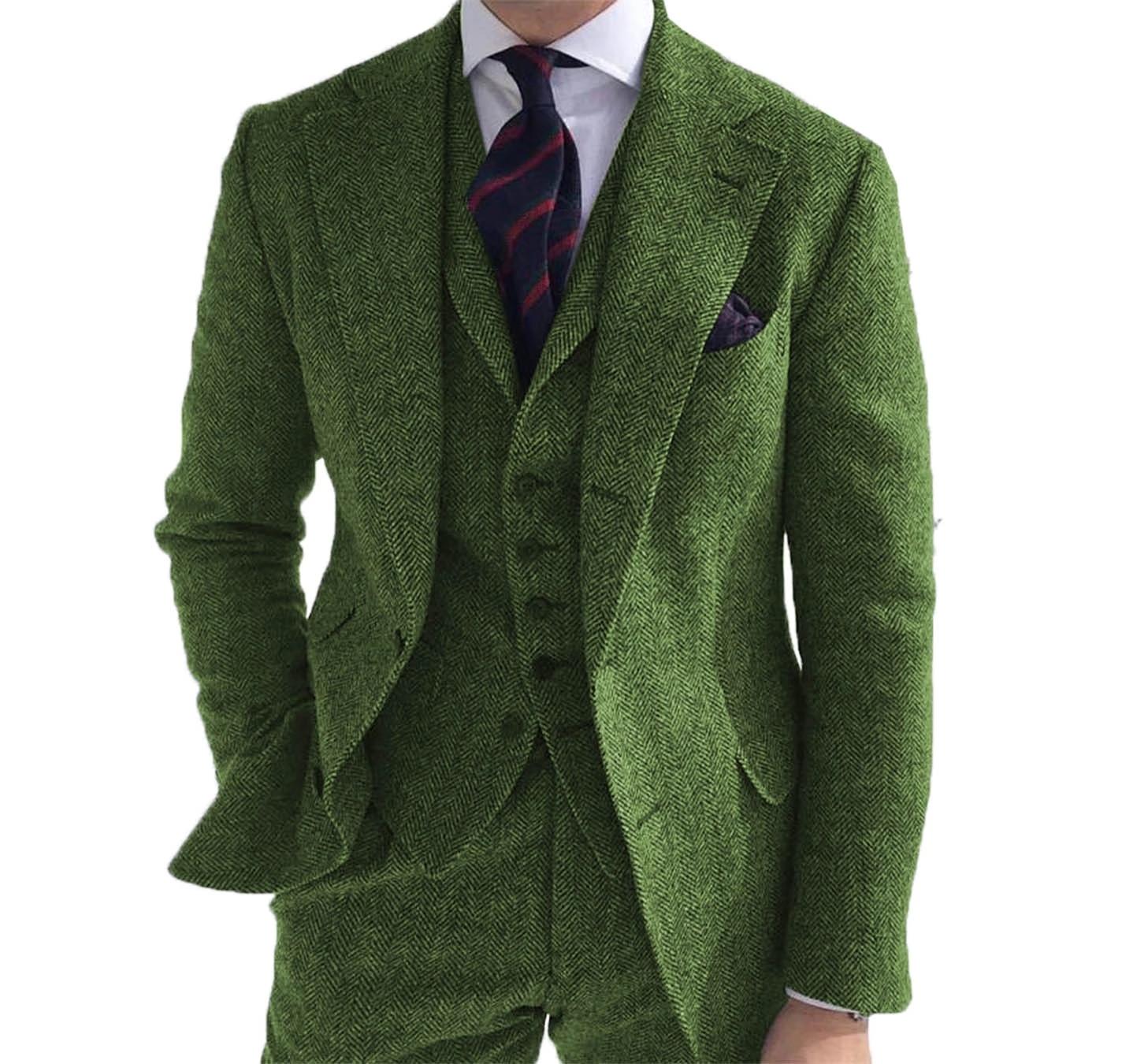 بدلة رجالية 3 قطع من الصوف الأخضر التويد متعرجة الأعمال الكلاسيكية الرجعية نمط لسترة الزفاف السترة السراويل