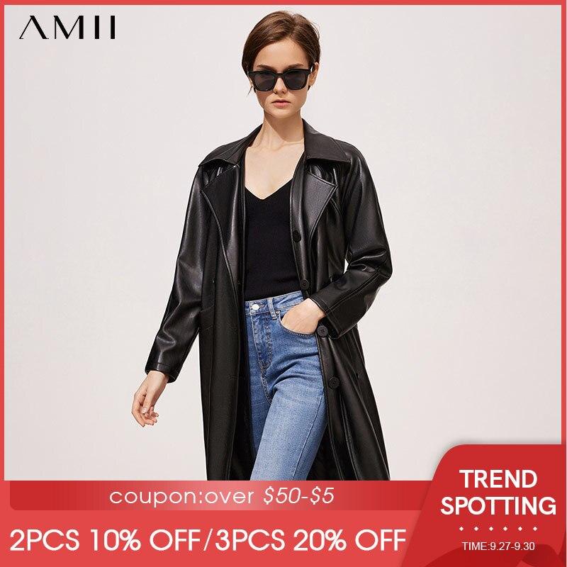 Amii بساطتها الخريف خندق معطف للنساء أنيقة التلبيب واحدة الصدر سترة طويلة سيدة سترات من الجلد أبلى 12170486