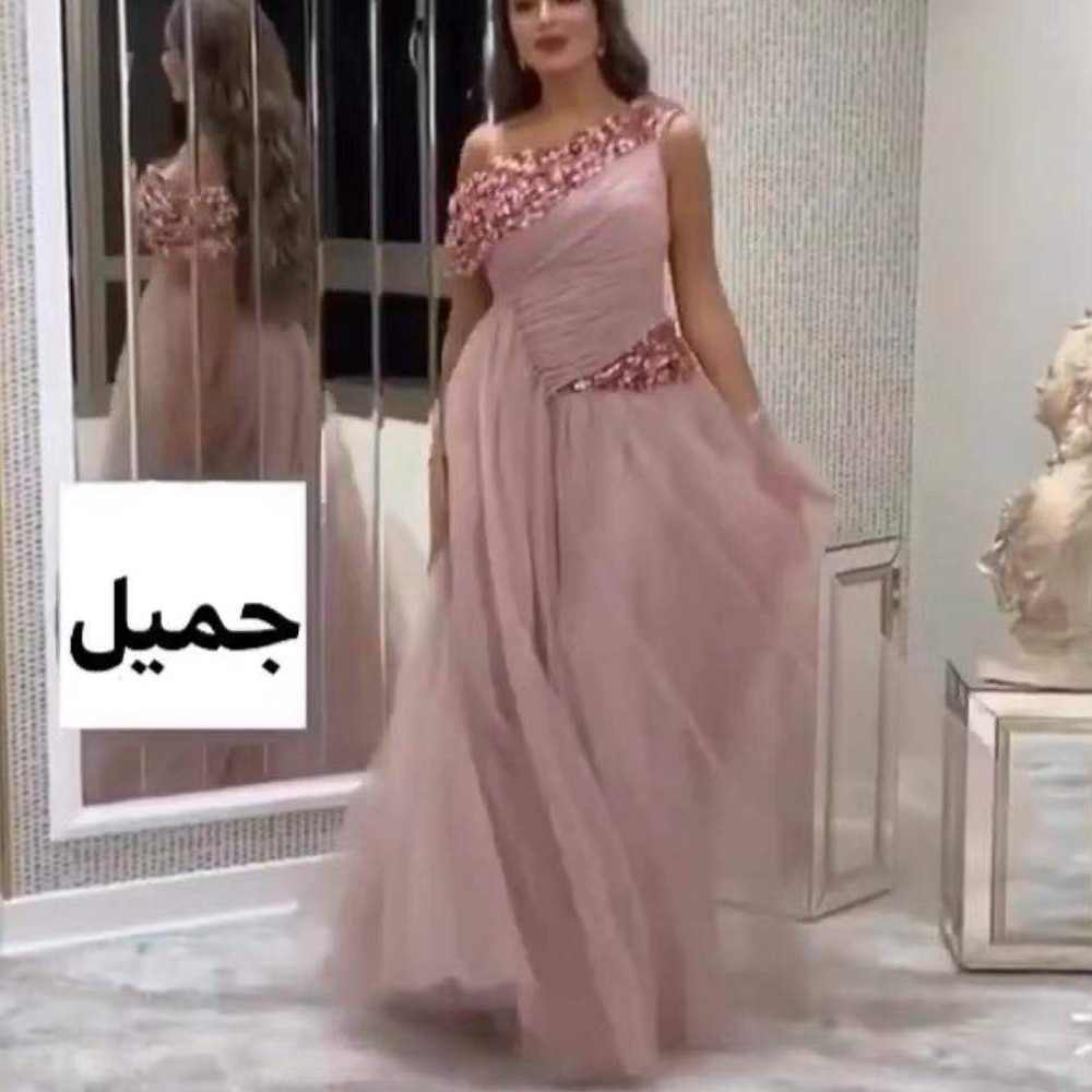 beaded prom dresses 2020 pleats sashes a line tulle pink evening dresses new party dresses