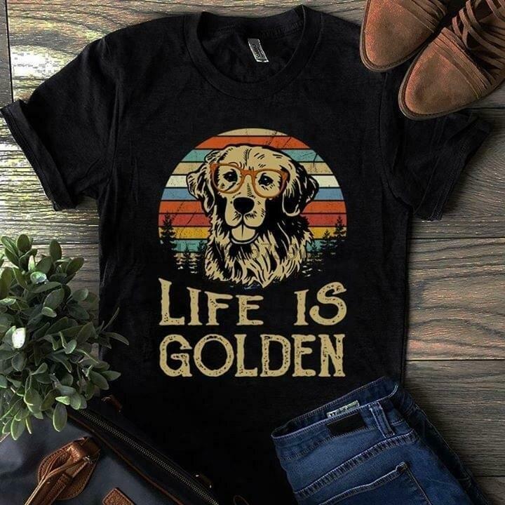 Golden retriever life é ouro vintage masculino t camisa de algodão preto s 4xl