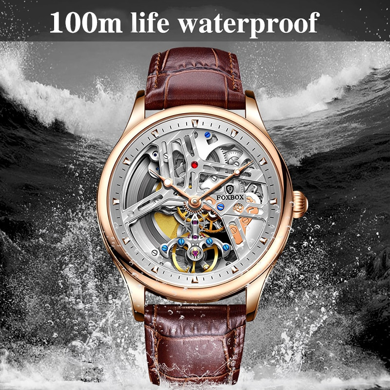 2021 New Sapphire Automatic Mechanical Men Watches Luxury Hollow 100M Waterproof Sport Clock Leather Wristwatch For Men Gift+Box enlarge
