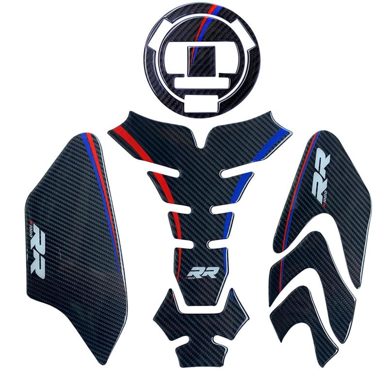 Proteção de Fibra De carbono da motocicleta Adesivo Decalque Emblema Tampa Do Tanque Pad Para BMW RR S1000 HP4