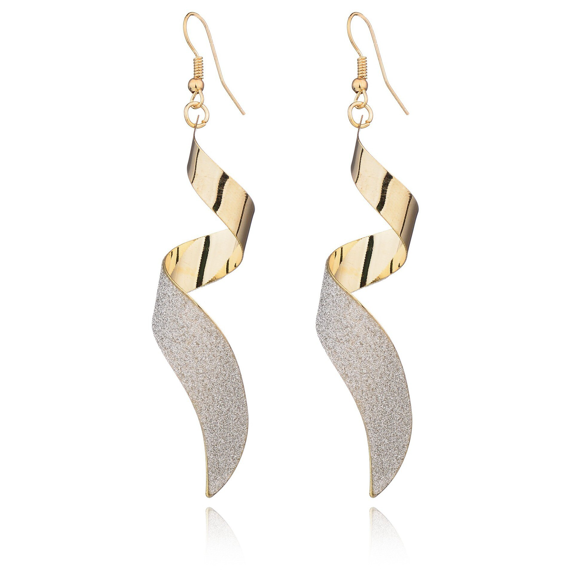 1Pair Punk Women Twist Spiral Dangle Charm Earrings Jewelry Valentine's Day Gift  Gold Black stainless steel Long Earrings