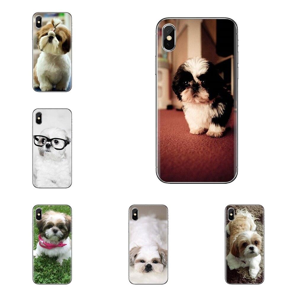 TPU Covers For iPhone XS Max XR X 4 4S 5 5S 5C SE 6 6S 7 8 Plus Samsung Galaxy J1 J3 J5 J7 A3 A5 Shih Tzu Shitzu Dog Puppy Print