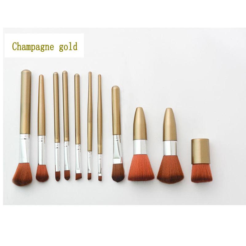 11 Uds pincel de maquillaje base líquido conjunto de cepillo de polvo rubor sombra antiojeras de ojos brillo de labios pincel de maquillaje cosméticos herramientas de belleza