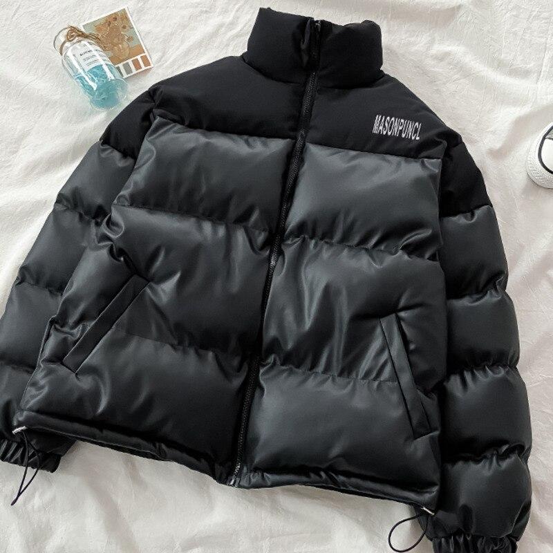 معطف شتوي أنيق حريمي بياقة عالية وأكمام طويلة مرقع أسود دافئ سترة كبيرة الحجم للأسفل سترة باركاس بمقاسات كبيرة