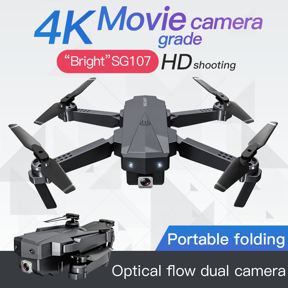 Мини-Дрон KaKBeir SG107 с 4K WIFI 1080P FPV камерой 2,4 ГГц Мультикоптер оптическая камера квадрокоптера игрушки VS E58 E68