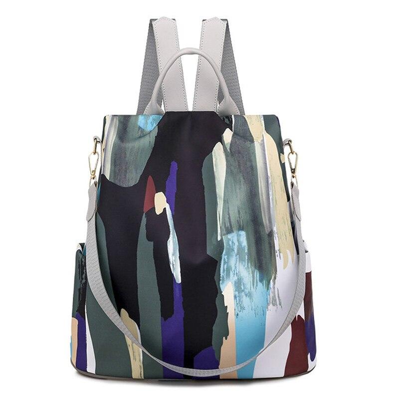 Mochila de estilo sencillo para mujer, bolso antirrobo de tela Oxford, lona...