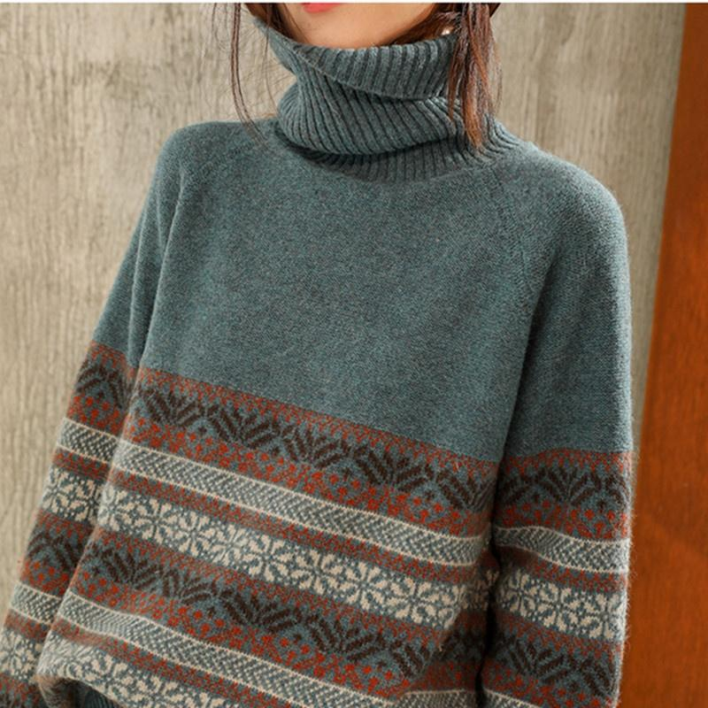 Winter Warm Retro Color Matching Loose Cashmere Sweater Bottoming Sweater Turtleneck Cashmere Sweater Fashion Casual Women's Top