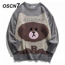 OSCN7 재미 있은 특대 스웨터 남자 2020 겨울 높은 Streetwear 패션 망 풀오버 라운드 넥 빈티지 스웨터 40471