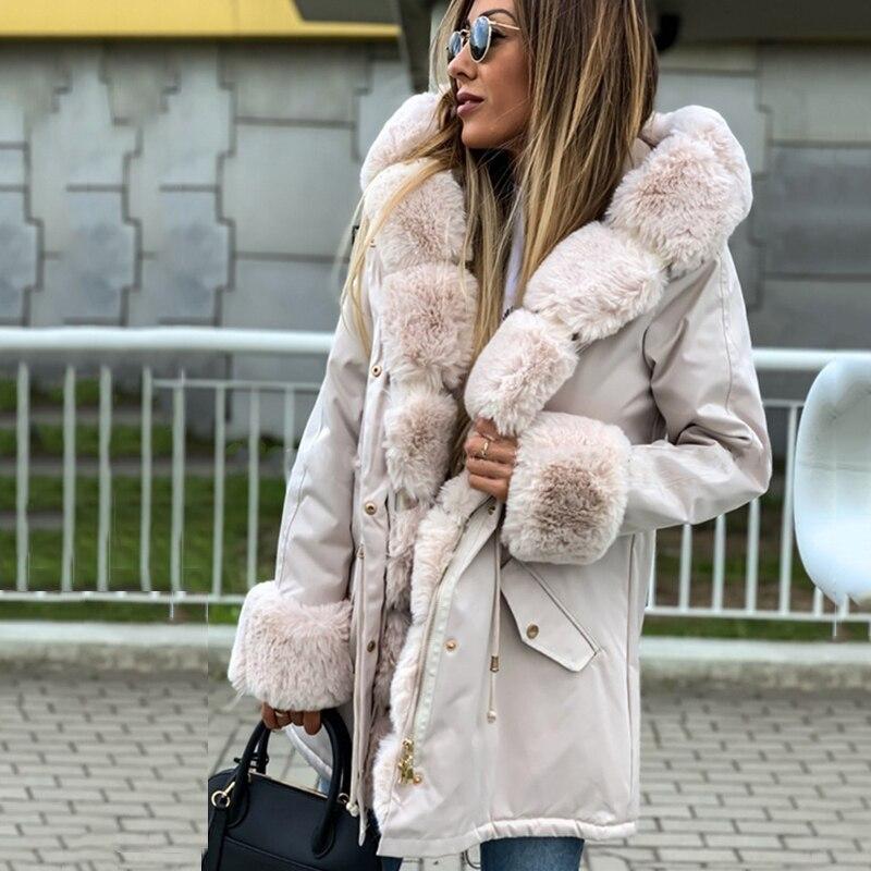 2021 Warm Women's Winter Parka Coats Long Cotton Casual Fur Hooded Jackets Women Thick Warm Winter P