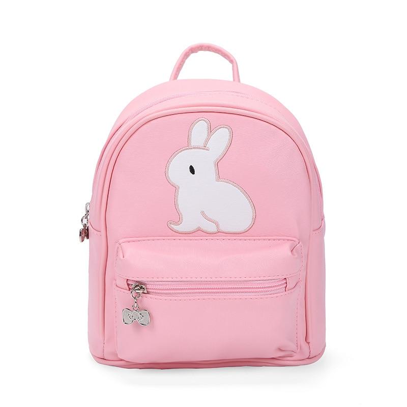 Mini Backpack Kindergarten Baby Toddler Backpack for Girls School Bags Cartoon Rabbit Children Backpack Pu Zipper Kids Book Bags