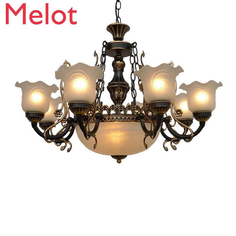 مصباح نجف في غرفة المعيشة الرجعية الإبداعية الإضاءة الأمريكية مطعم غرفة نوم ضوء بسيط دراسة الحديد droتحكم