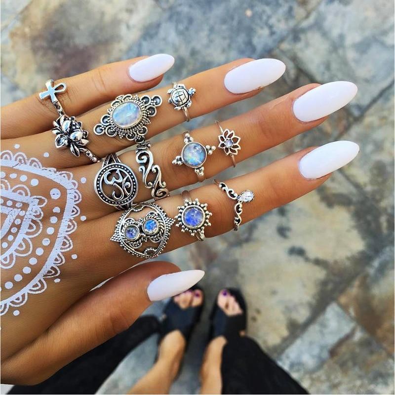 2020 design boho vintage estrela de ouro midi lua lótus anel conjunto para as mulheres opala cristal midi dedo anel feminino boêmio jóias presente