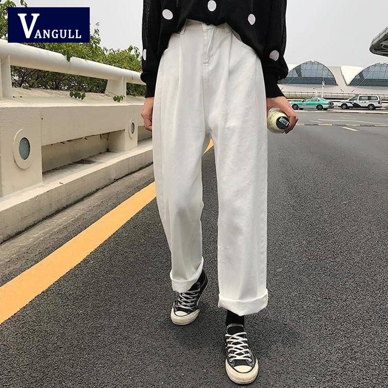 Vangull Jeans Women Loose High Waist Leisure Full-length Wide Leg Jean All-match Korean Style Simple Women Trendy Harajuku Pants