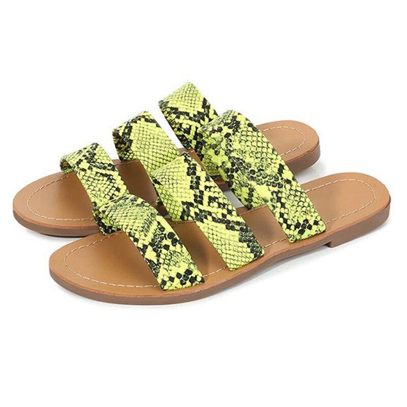 Mulher leopardo impressão fundo macio flip flops feminino senhoras verão bohemia praia slides chinelos novo 2020 verde rosa mais tamanho