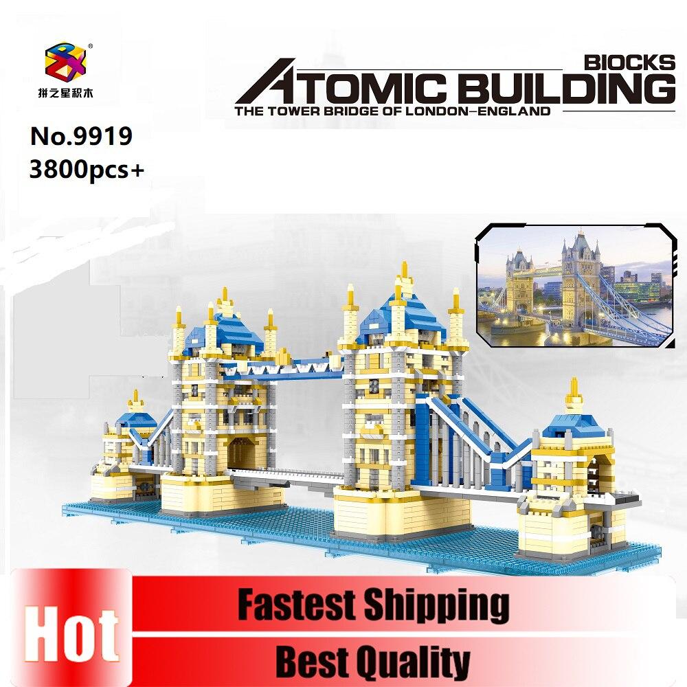 Pzx 9919 3800 pçs arquitetura cidade marcos a torre ponte de londres diy blocos de construção diamante para crianças coleção brinquedos