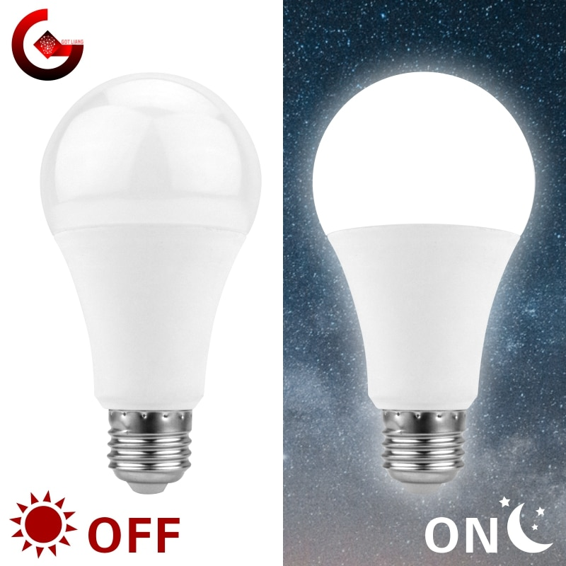Bombilla LED para el atardecer E27, 5W, 7W, 9W, 12W, Sensor de luz exterior ca de 110V, 220V, 85-265V, luz de día y noche, lámpara inteligente LED de encendido/apagado automático