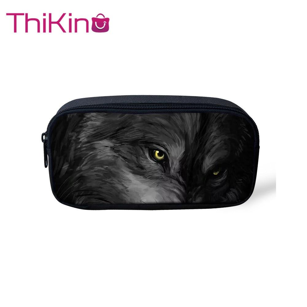 Thikin Moonlight Wolf bolsas de lápices informales bolsa de pluma para niños estuche de lápiz para estudiantes Almacenamiento de maquillaje bolsos de mano bolsos de pluma para niños
