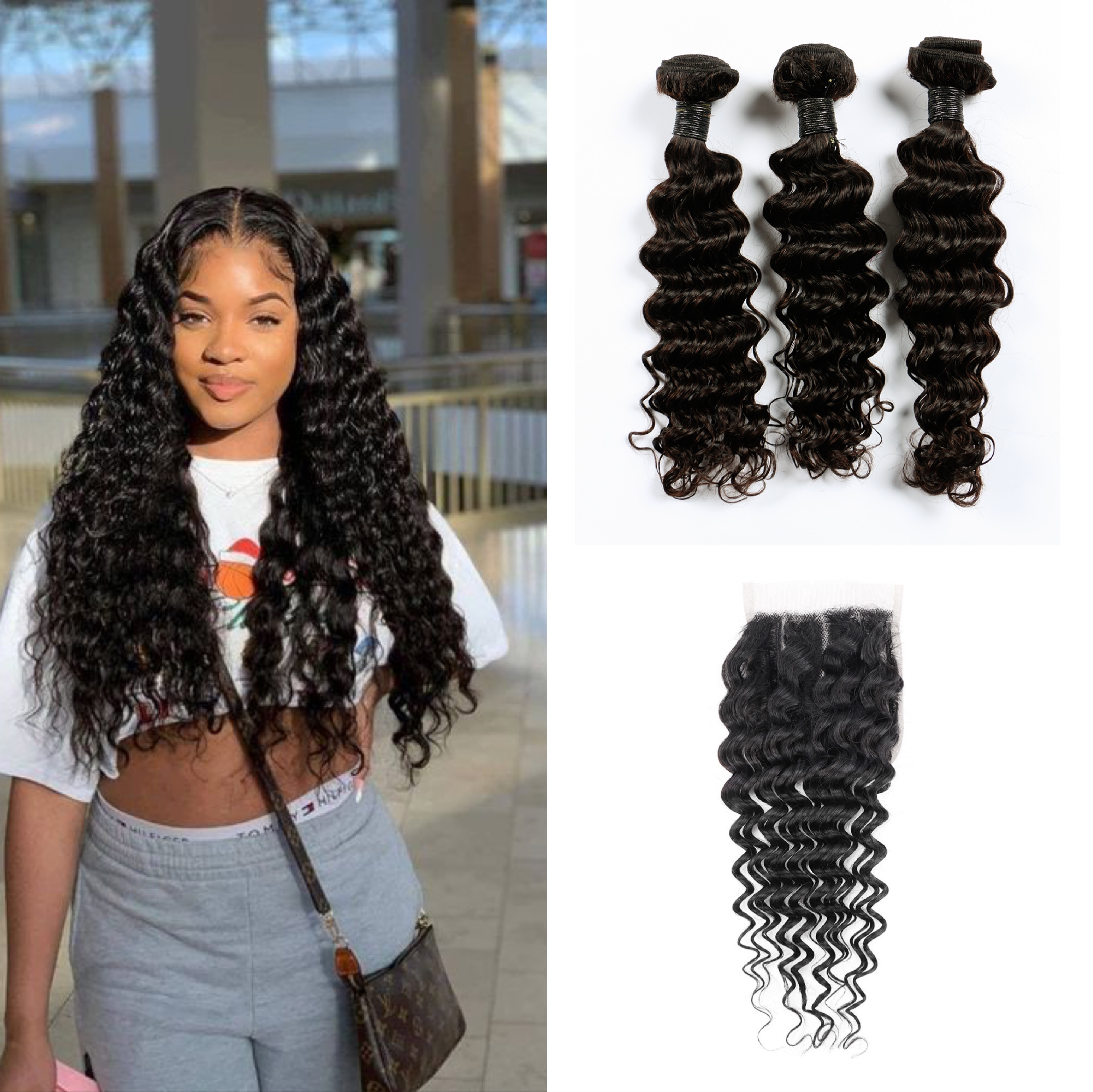 3 + 1 fasci di onde profonde con chiusura fasci di capelli brasiliani estensione dei capelli umani tesse capelli umani onda profonda dei capelli di Remy per le donne