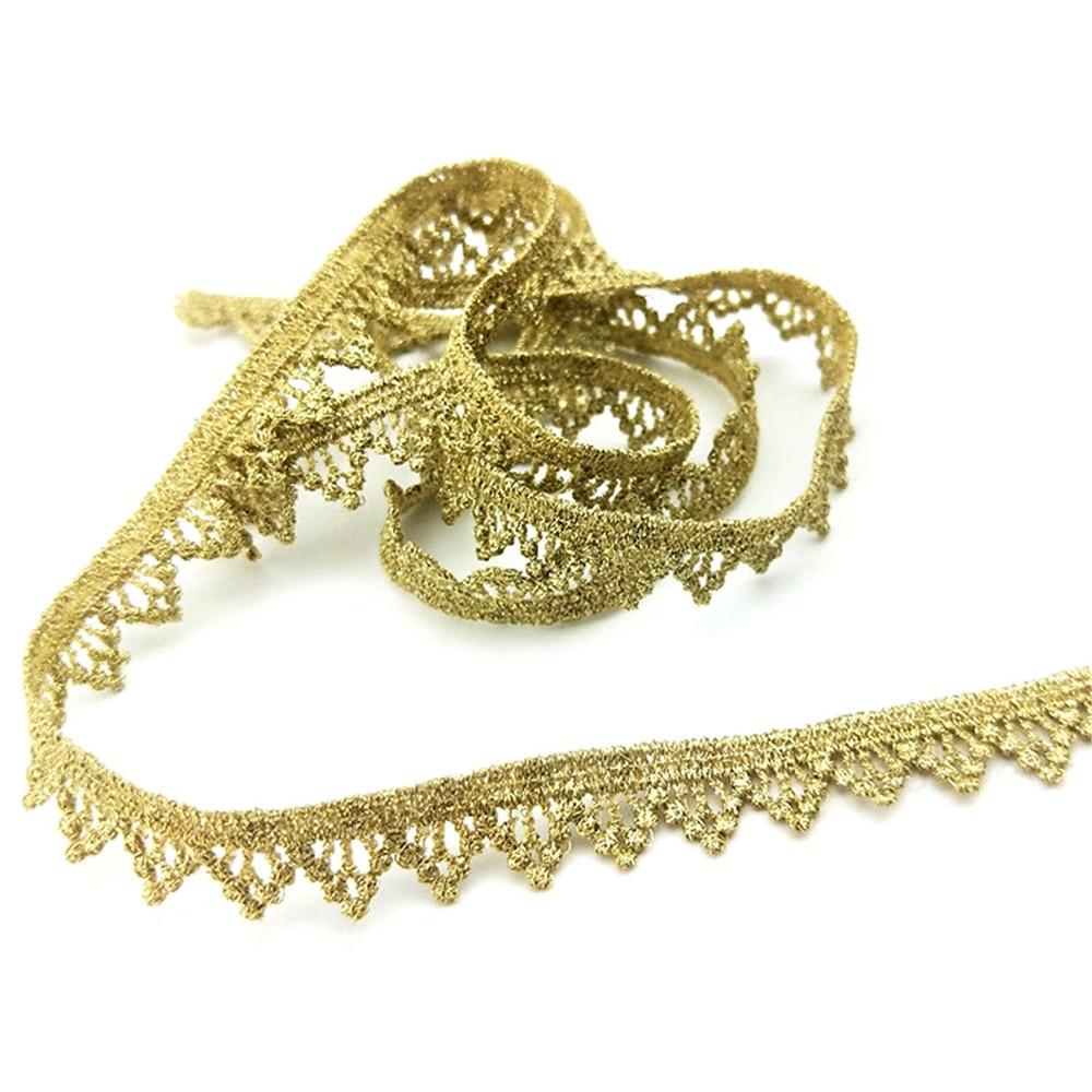 Belo 1 metros rendas fita larga ouro brilhante aparamento do laço de costura bordado DIY roupas decoração do casamento do partido