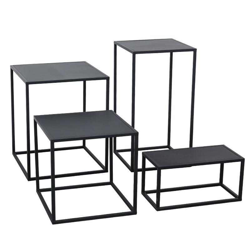 Nordic Wrought Iron Side Coffee Table Simple Modern Sofa Corner Creative Small Table Window Display Stand