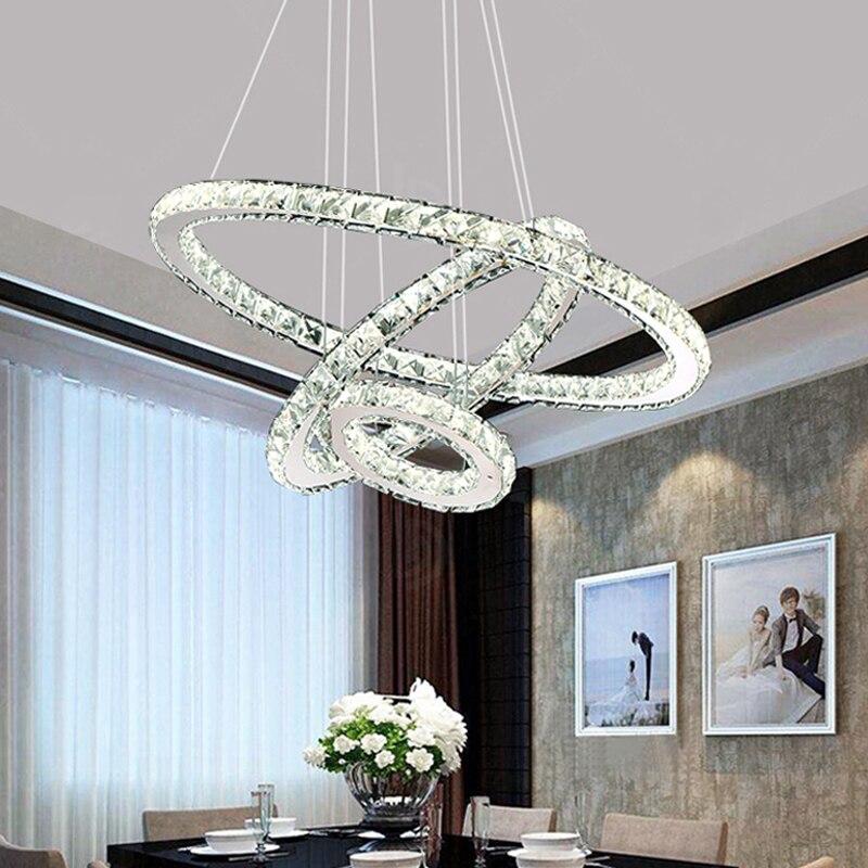 Modern LED Chandelier Crystal Ring Chandeliers Indoor Lighting Lustre Loft Light For Living Room Bedroom Kitchen Fixture Lights