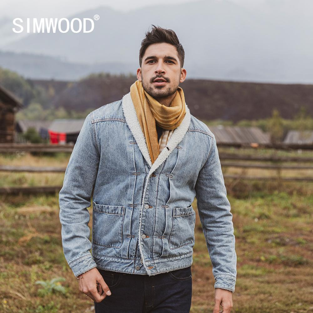 SIMWOOD winter neue faux lammfell gefüttert denim jacke männer berber fleece innen warm mäntel plus größe Schal-Kragen oberbekleidung