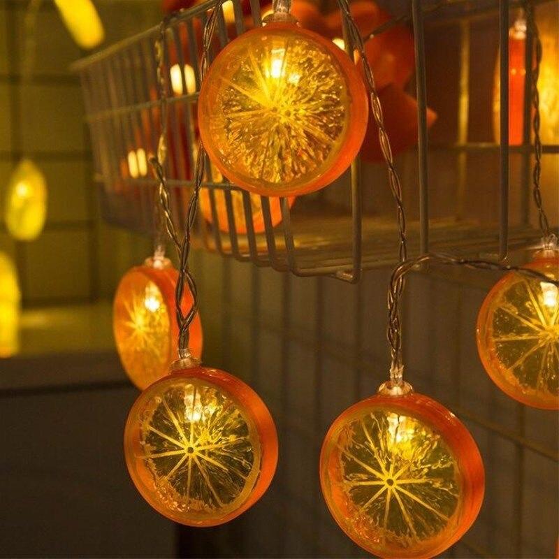 String lights fruit lemon lights curtain lights outdoor indoor bedroom window decoration Christmas tree decoration lights 1pcs enlarge