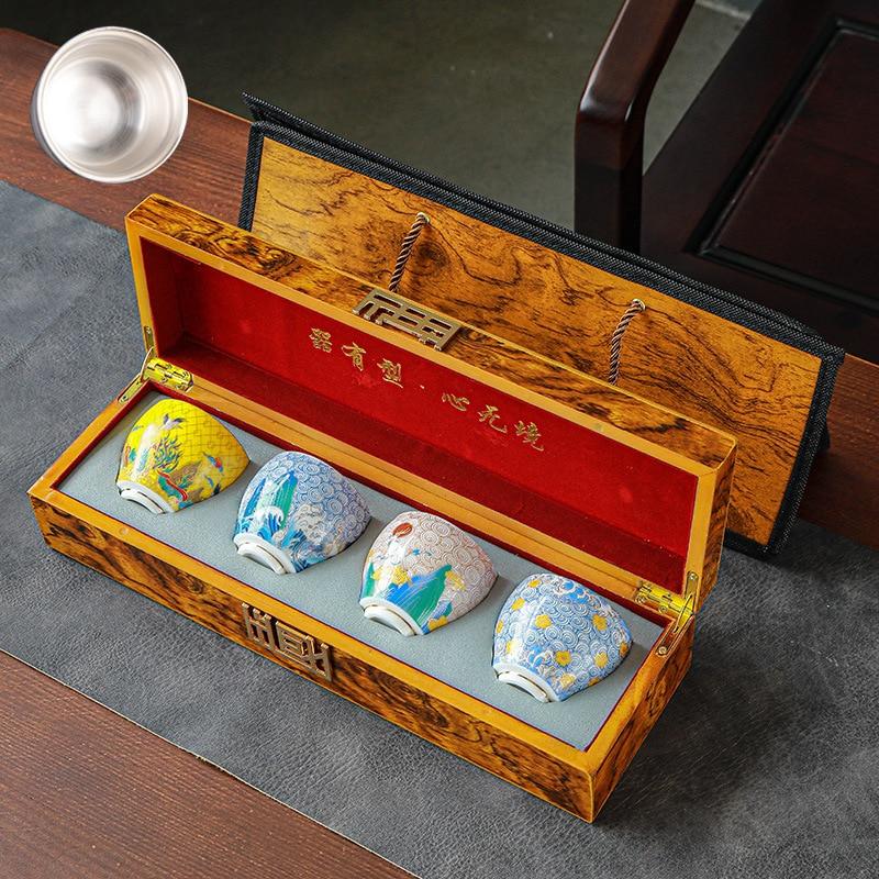 999 الفضة النقية فنجان شاي الكونغ فو فنجان شاي المينا شاي سيراميك فنجان شاي اليدوية مذهب الفضة كأس ماستر كوب واحد هدية صندوق