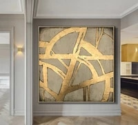 extra large wall art gold leaf abstract painting acrylic paintings on canvas contemporary art wall painting living room decor