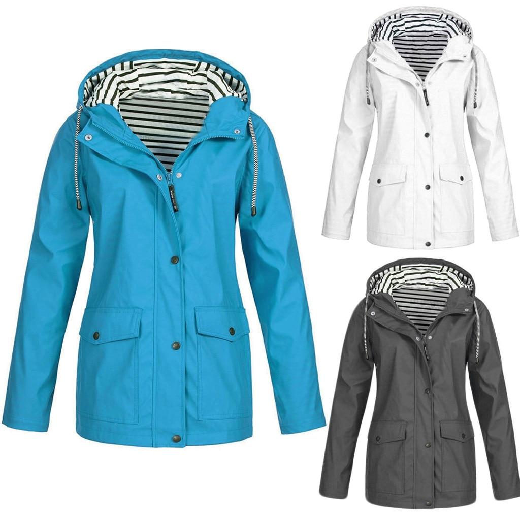 Raincoat Women Solid Color Long Rain Coat Waterproof Plus Size New Fashion Windproof Hooded Raincoats Capa de chuva Regenhoes /C