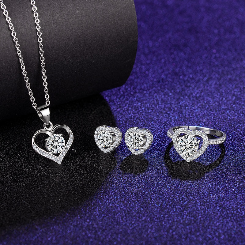 Get Jewelry Suit 925 silver fashion personalized womens Rings Stud earrings Pendant necklace luxury Jewelry with Gift Box