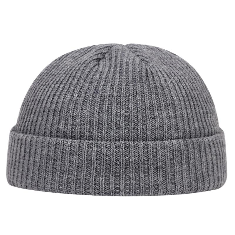 Outono inverno melão boné masculino feminino malha gorro skullcap marinheiro bonés manguito curto brimless retro estilo marinho chapéus casquette
