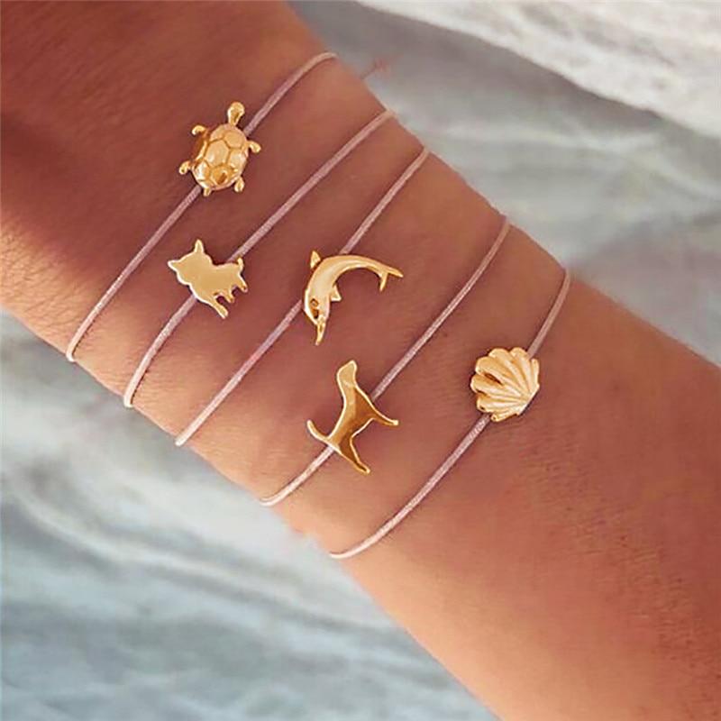 Modyle, 5 unidades bohemias, conjunto de pulseras con dije de concha de delfín y Tortuga para mujer, conjuntos de pulseras de cadena de cuerda a la moda, joyería, triangulación de envíos