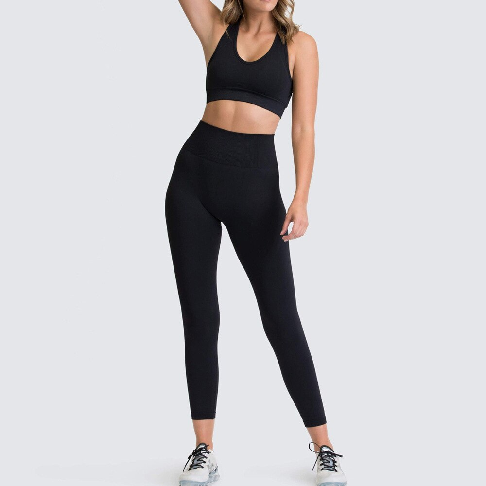 Hot-selling new yoga clothing suit two-piece knitted hip fitness vest Workout Stretch Sportswear Fitness Clothing