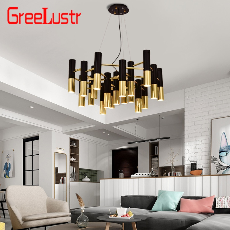 مصباح السقف المعلق على شكل أنبوب من المعدن الذهبي والأسود ، تصميم إيطالي ، منتج حديث ، تصميم آرت ديكو