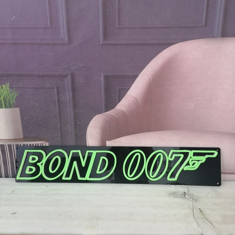 Custom Name Neon Light Sign James Bond 007 Movie Bar Neon Light Sign By WorldLEDHouse For Bedroom Decoration Wall Decor enlarge