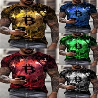 2021 new loose short sleeve sports mens T-shirt  big round neck  bitcoin 3D printing  leisure and breathable fitness mens wear