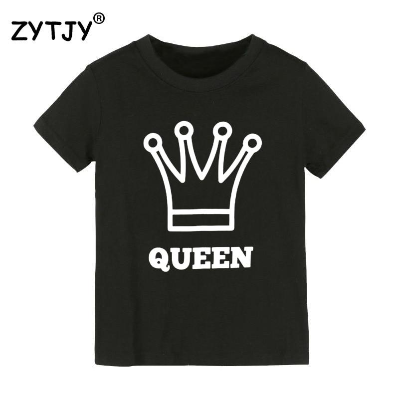 Reina corona imprimir niños camiseta niño niña camiseta para niños ropa de niño divertido Tumblr Top Tees CZ-120